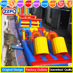 ZZPL 81ft long kids bouncy slide obstacle, inflatable turbo rush obstacle course for sale