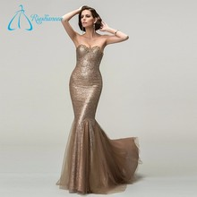 Elegant Mermaid Satin Tulle Sweetheart Gold Party Dresses