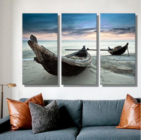 Oil Painting Canvas Beach Landscape Boat Wall Art Decoration Home Decor On Canvas Modern Wall Picture For Living Room 3PCS