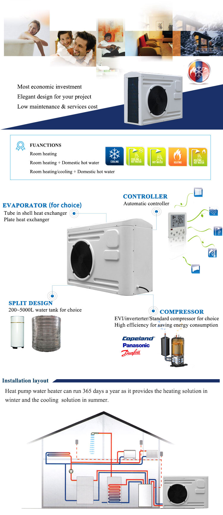 heat pump air to water heater china oem price low