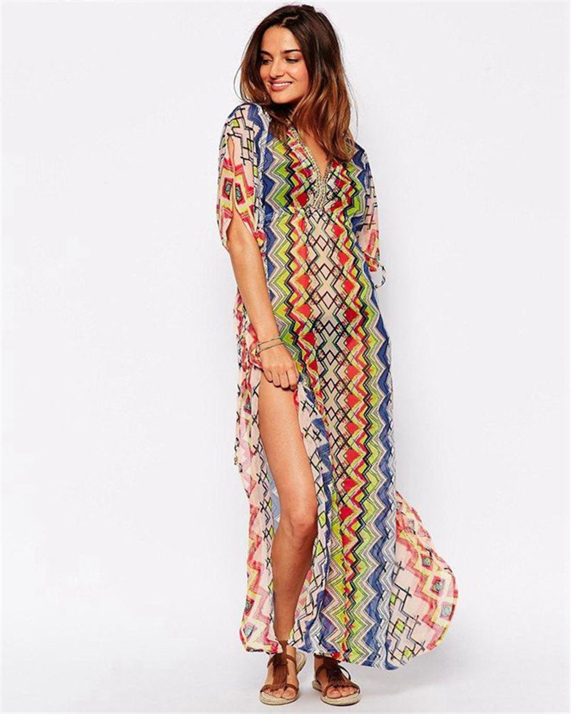 fefadee5aa Get Quotations · B270 Sarong beach dress short sleeve breathable long  summer dress swimsuit cover ups fashion style soft
