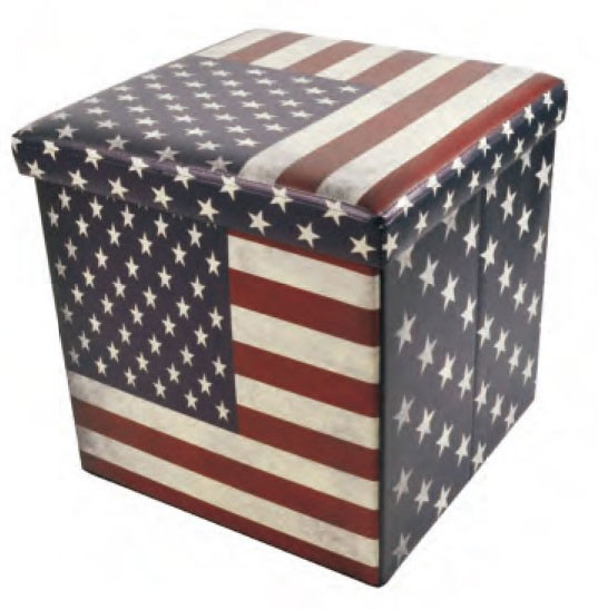 Faux Leather Folding Storage Ottoman with U.S.Flag Footrest Coffee Table