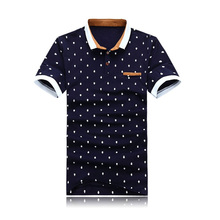 New 2017 Brand POLO Shirt Men Cotton Fashion Skull Dots Print Camisa Polo Summer Short-sleeve Casual Shirts