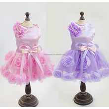 Dog Princess Luxury Rose Flower Dresses Wholesale Pet Apparel Cheap