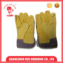 Half cloth lining outdoor working cow split leather work gloves with patch palm