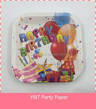 "9"" (23cm)300GMS White Board Square Paper Plates Happy birthday Party Tableware"