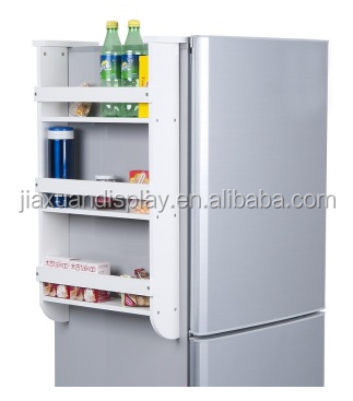 wood refrigerator side shelf beverage shelf storage rack