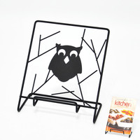 Owl Design Black Color Kitchen Recipe Holder Rack