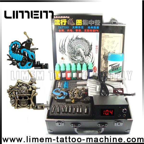 2015 professional hot sale cheap tattoo kit for tattoo beginner & artist