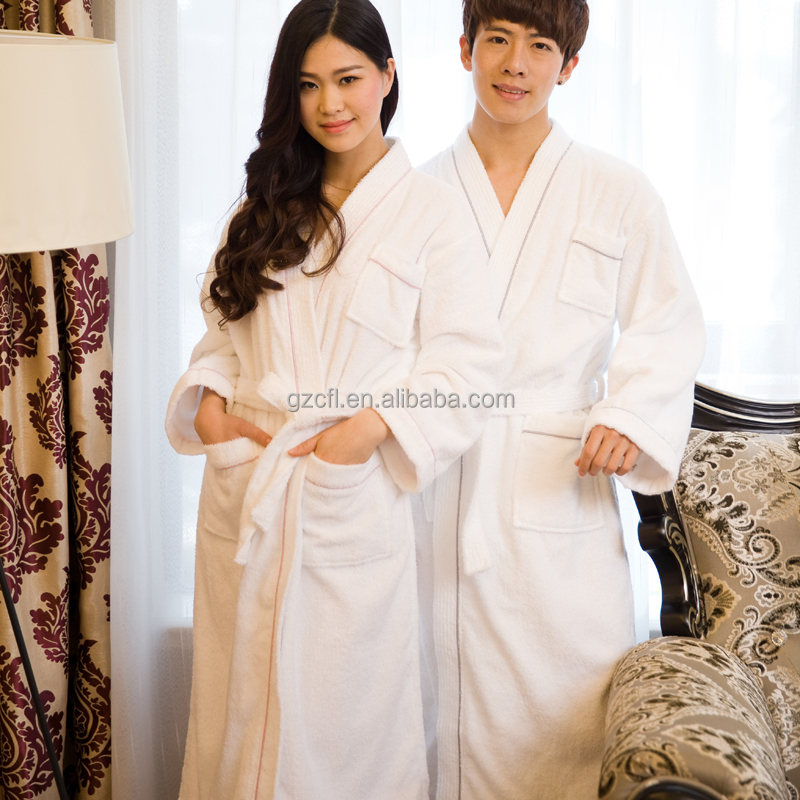 Hotel luxury 100% cotton terry towel bathrobe for men