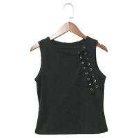 High Quality Wholesale Cheap Fashion Eyelet Lace Up Black Cotton Custom Plain Women Tank Top
