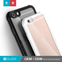 DUZHI transparent tempered glass case for iPhone 6 360 degree protective hard back cover TPU mobile phone case for iphone6/6s