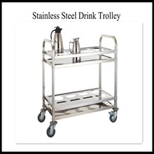 Lightweight Stainless Steel Serving Trolley Food Service Cart With Wheels