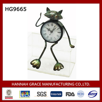 Metal Animal Decorative Cat Table Clock