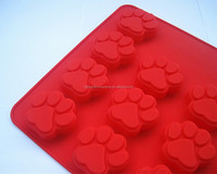 FDA food grade non stick 14 dog paw print microwave oven safe bpa free cake jelly soap silicone moulds