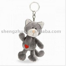 Famous plush animal dancing cat key chain toy suppliers for baby