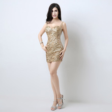 Sequins sexy evening dresess mini see through backless short sweetheart golden women univision boutique dress