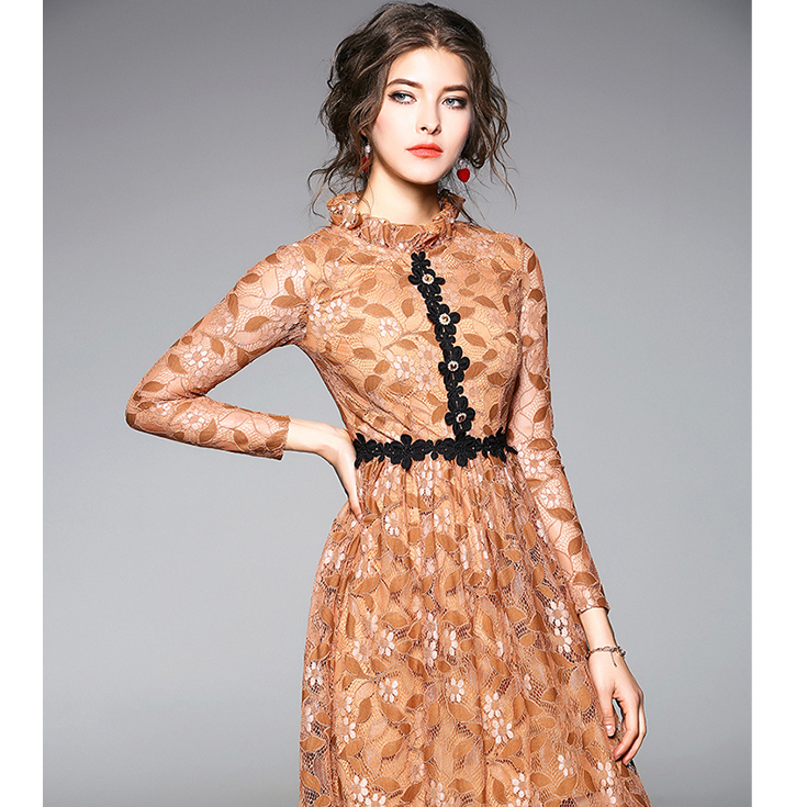 American style lady dresses 2018 New Autumn/Spring long sleeve casual lace dresses for women