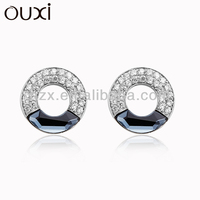 OUXI crystal circle sterling silver earring Y20120