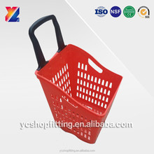 China easy pulling rolling feature 70L plastic supermarket shopping basket with 4 wheels