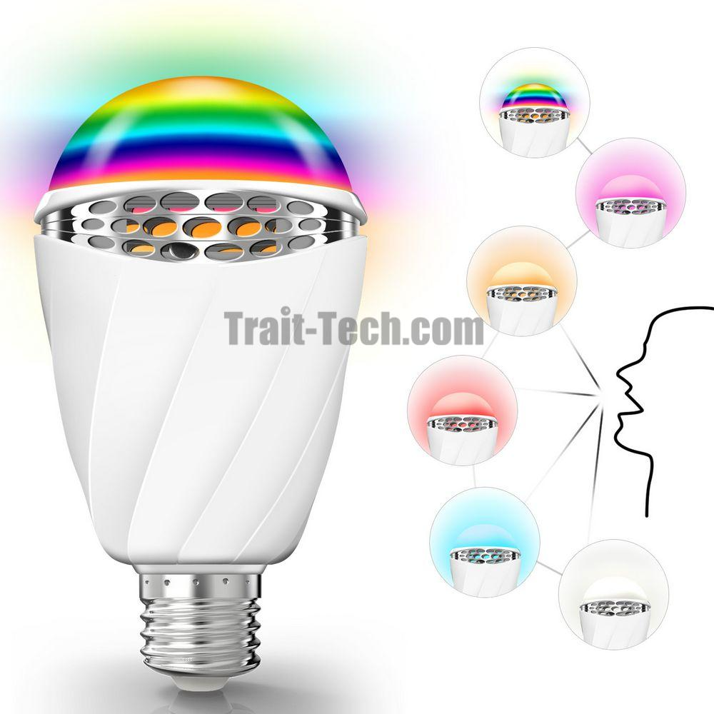 Smart Voice Bulb 3W LED Speech Recognize Bulb, Voice Control Lamp Color-changing Light in English Language E27 Base Holder