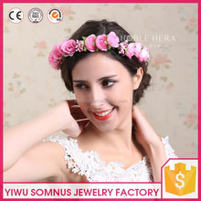 Elegant pink rose garland artificial bridal flower <strong>crown</strong> factory