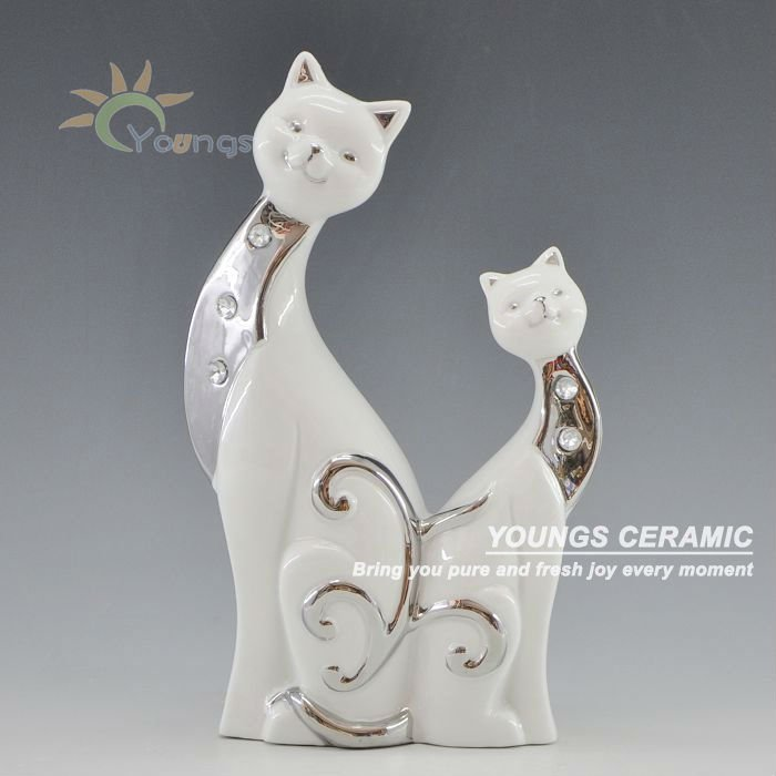 Hot Delicate handicraft ceramic craft two cats kitty statue animal figure