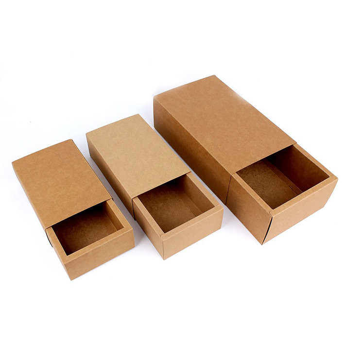eco friendly brown kraft paper folding drawer gift box