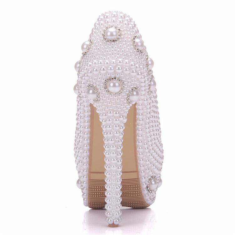 2018 New Handmade Ultra High Heels Artificial Pearls Bride Shoes Wedding Pumps Match Handbag Set