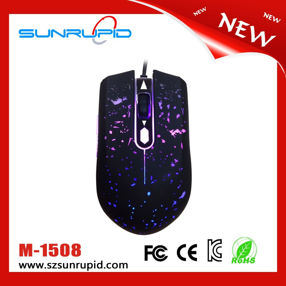 Changing 6 Buttons 1600 DPI Optical Gaming Game Mouse Mice Wired LED for PC Laptop Colorful Dotted