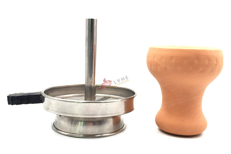 T009CH Lvhe Smoking Wholesale Hot Sale Clay Hookah Bowl Shisha Hookah Stainless Steel Charcoal Holder With Screen