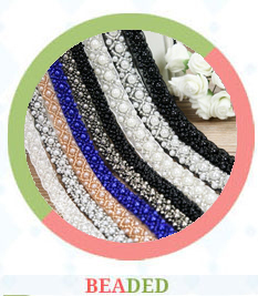 Lovely flower ornament 100% nylon material net white cord lace fabric