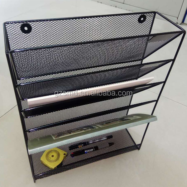 Buy Wholesale Factory Price Black Office Hanging 5 Layer Metal Wire Mesh Wall File Organizer