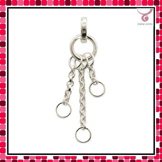 European style 3 chains charms pendant, silver charms