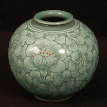 White Lotus Celadon Jar