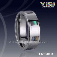 vibrating body jewelry ,Abalone Shell Tungsten Ring