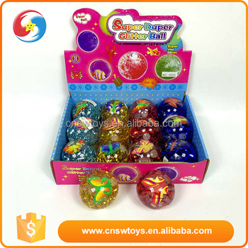 Best gift for children beautiful 5.5cm bouncy glitter ball