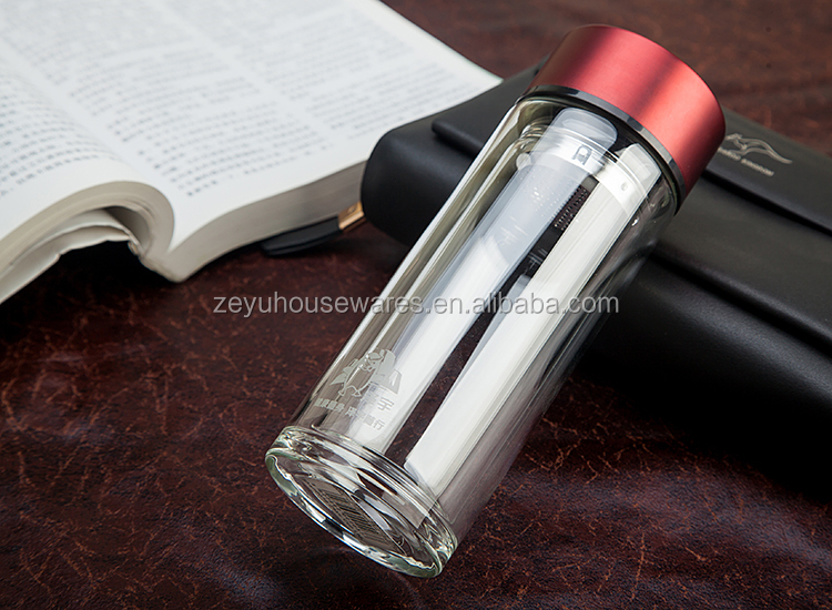 550ml Bamboo Lid Bottle/Double wall glass bottles manufacturer selling glass tea infuser water bottle
