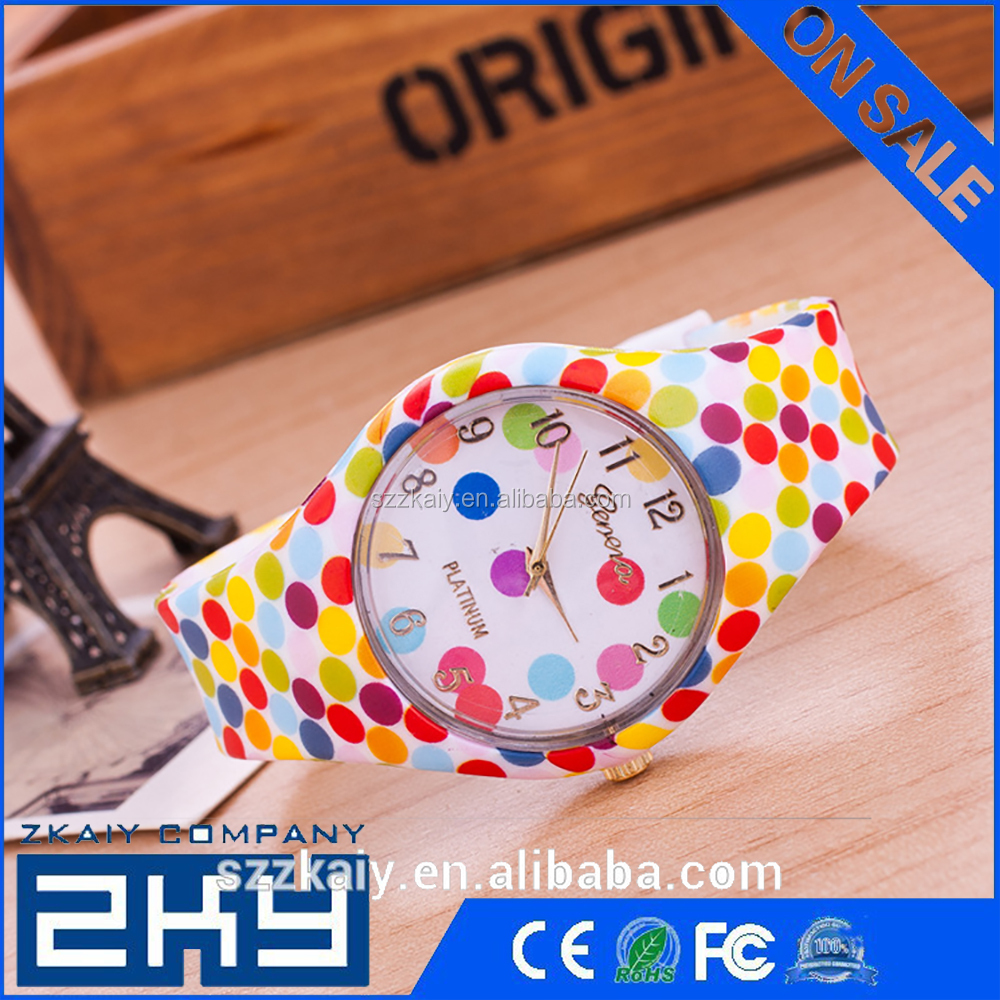 Silicone Watches 2016 New Design wristwatches women Flower Printed Silicone band clock Causal Quartz Watch feminino