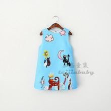 Girl gender style 2-8years age sundress blue cartoon cotton girls dress A-line european summer kids frocks design wholesale
