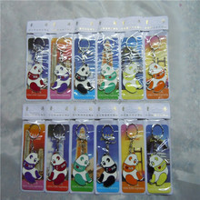 china supplier metal national treasure cute colourful panda shape keychain for promoitonal gift