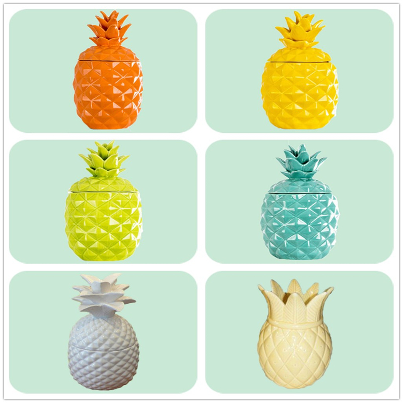 Custom Customized Soy Candle Ceramic Pineapple Candle Jar with Lid