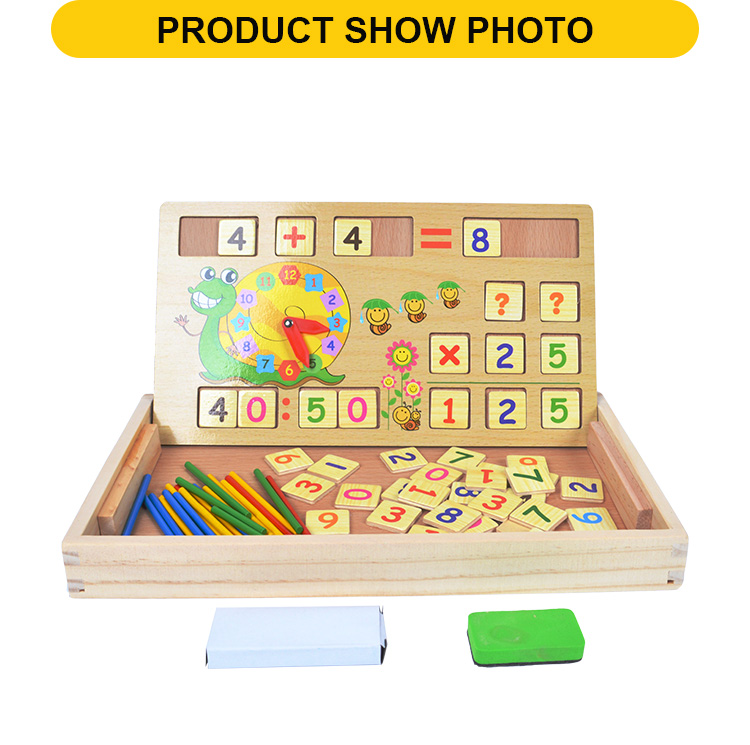 multifunctional bulk clock and number blocks educational toys for kids wooden