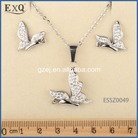 2016 New Fashion Cz Jewelry Set 316L Surgical Stainless Steel For Ear And Neck