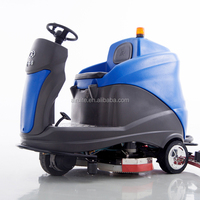 Ride on battery concrete cleaning machine