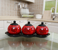 4pc kitchen lucky character spice jar with ceramic rack