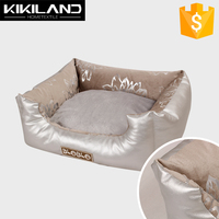 Luxury Silver Leather Floral Pattern Soft Dog Bed