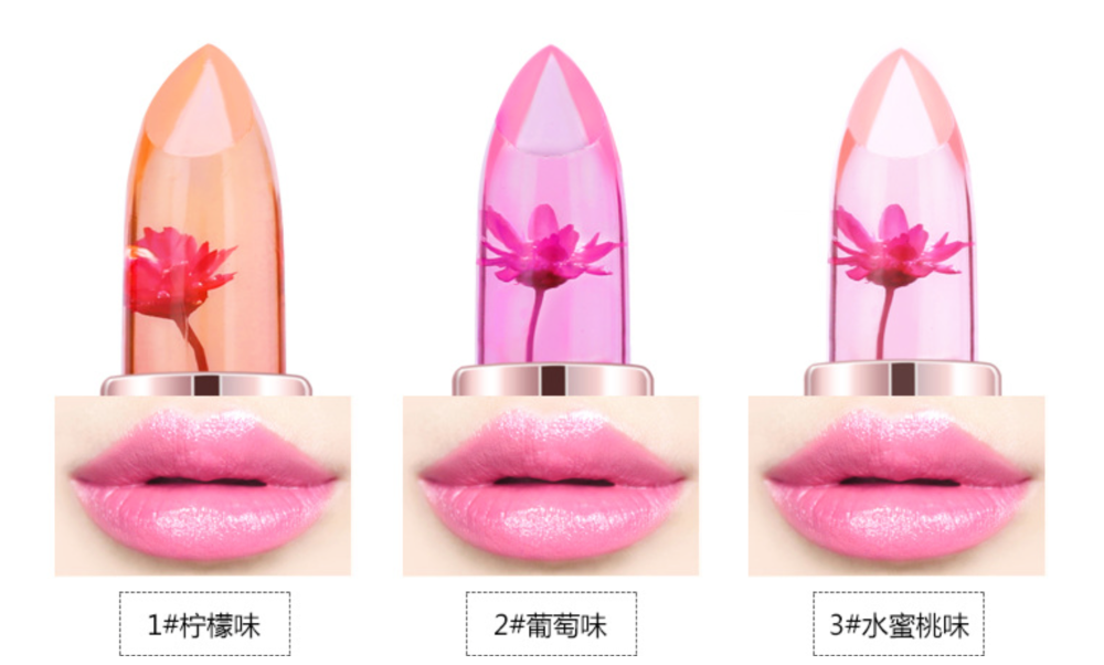 Newest 3 colors cosmetic lipsticks temperature change jelly flower lipstick