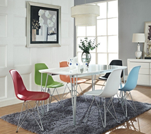 Free Sample Chrome Base Modern Emes Style Molded Plastic Eiffel Side Chair