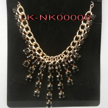 2012 latest long chain necklace with big black stone